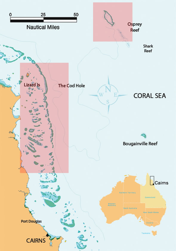 Charroa Map Locations Of Great Barrier Reef Dive Sites